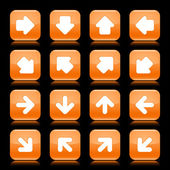 Orange glossy web button with white arrow sign. Rounded square shape internet icon with shadow and reflection on black background. This vector illustration saved in 8 eps — Stock Vector