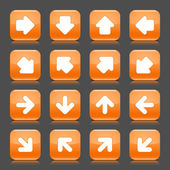Orange glossy web button with white arrow sign. Rounded square shape internet icon with shadow and reflection on dark gray background. This vector illustration saved in 8 eps — Stock Vector