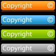 Matted color rounded buttons with copyright on black — Stockvektor