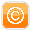 Matted orange rounded squares button with copyright and reflection on white - Stock Vector