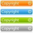 Matted color rounded buttons with copyright on white - Stock Vector
