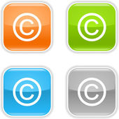 Colored internet web buttons with copyright symbol. Rounded square shape with gray reflection. White background — Stock Vector