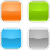 Botón web en blanco brillante color con sombra sobre blanco — Vector de stock