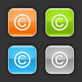 Matted color rounded squares buttons with copyright symbol on black — Stock Vector