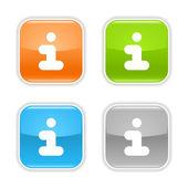 Bilgi web 2.0 düğmesini. kare şekilleri ile gölge beyaz arka plan üzerinde renkli parlak yuvarlak. — Stok Vektör