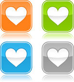Colorful internet web buttons with heart sign. Rounded square shape with gray reflection. White background — Stock Vector