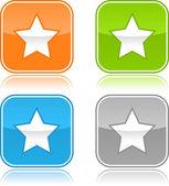 красочные интернет веб-кнопок с знак зодиака. округлые квадратной формы с серым отражением. белый фон — Cтоковый вектор