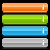Satin glatt bunten web 2.0 buttons mit hinweisschild und reflexion auf schwarzem hintergrund — Stockvektor