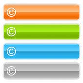 Znak praw autorskich panel nawigacyjny sieci web 2.0. kolorowe przyciski internet błyszczący cień na białym tle — Wektor stockowy