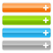 Web 2.0 internet buttons with plus symbol. Colored glossy navigation panel with shadow on white background — Stockvektor