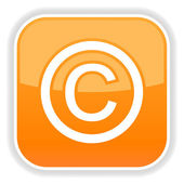 Matted orange rounded squares button with copyright and reflection on white — Stock Vector