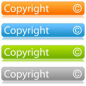 Matted color rounded buttons with copyright on white — Stock Vector