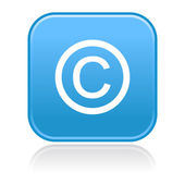 Matted blue rounded squares buttons with copyright symbol and reflection — Stock Vector