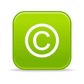 Matted green rounded squares button with copyright symbol and drop shadow on white — Stock Vector