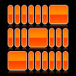 Orange glossy abstract design element on black - Векторная иллюстрация