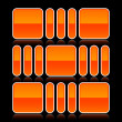 Orange glossy abstract design element on black background — Imagens vectoriais em stock