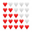 Red smooth heart ratings web button. Shapes with shadow and reflection on white background — Stock Vector