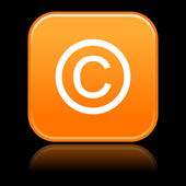 Matted orange rounded squares button with copyright on black — Stock Vector
