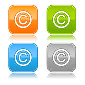 Four colored rounded square web button with copyright sign on white — Stock Vector
