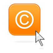 Matted orange button with copyright symbol and cursor on white — Stock Vector