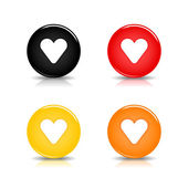 Colored web 2.0 button with heart sign. Round shapes with reflection and shadow on white background. 10 eps — Stock Vector