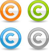 Matted colored round buttons with copyright symbol on white — Stock Vector