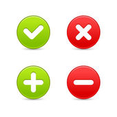 Smooth web 2.0 buttons of validation icons with shadow on white background. — Stock Vector