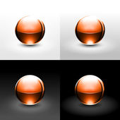Brown chrome metal ball with black shadow and glowing on white, gray and black background. — Stock Vector