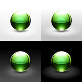 Green chrome metal ball with drop black shadow and glowing on white, gray and black background. — Stock Vector
