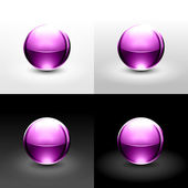 Pink ball with shadow and glowing on white, gray and black background. — Stock Vector