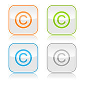 Color gray glassy button with copyright and color reflection — Stock Vector