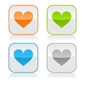 Colorato internet web pulsanti con il segno del cuore. arrotondato a forma quadrata con riflesso grigio. sfondo bianco — Vettoriale Stock