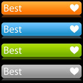 Matted color rounded buttons with heart symbol and text on black — Stock Vector