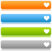 Heart sign web 2.0 navigation panel. Colored glossy internet buttons with shadow on white background — Stock Vector