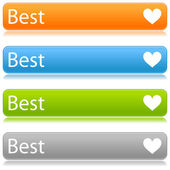 Matted color rounded buttons with heart symbol and text on white — Stock Vector
