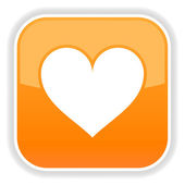 Matted orange squares button with heart and reflection on white — 图库矢量图片