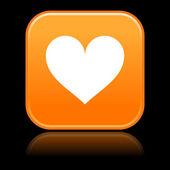 кнопка матовый оранжевый квадраты с сердцем и отражение на черном — Cтоковый вектор