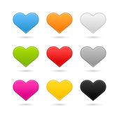 Devět matné barvy srdce webových tlačítek na bílém pozadí — Stock vektor