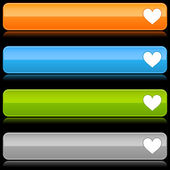 Glossy colored rounded buttons with heart symbol and reflection on black — Stock Vector