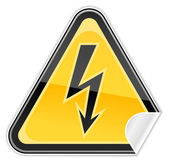 Sticker hazard warning sign with high voltage symbol on white background — Stock Vector