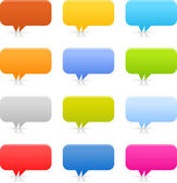 12 speech bubble web 2.0 buttons. Colored smooth shapes with shadow and reflection on white background — Stock Vector