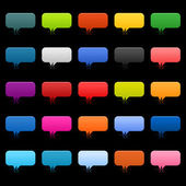 25 simple speech bubble icon web 2.0 buttons. Colored rounded rectangle shapes with shadow on black — Stock Vector