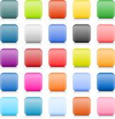 影と反射白い背景の上に空の web ボタン。25 色、角の丸い四角形のアイコンのサテンのバリエーション。ワイヤ メッシュの手法で作成されたこのベクトル図 — ストックベクタ
