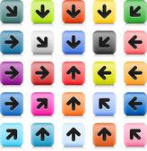 石头 web 颜色箭头符号的按钮。25 变异圆角方形图标,带阴影和反射在白色背景上。此向量中的丝网技术创建并保存文件 8 eps — 图库矢量图片
