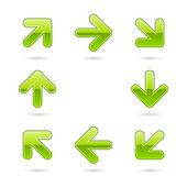 Glassy green arrow icon web 2.0 button — Stock Vector