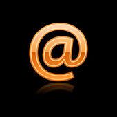 Glossy orange web button arroba sign — Stock Vector