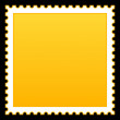 Stock Vector: Matted yellow blank postage stamp on black background