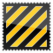 Yellow hazard warning postage stamp with warning stripes on white — Stock Vector