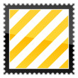 Stock Vector: Yellow hazard warning stripes postage stamp on white