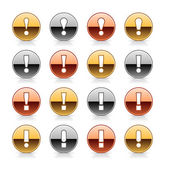 Attention icon web 2.0 button with exclamation mark. Metal round shape with reflection and shadow on white — Stock Vector